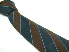 BRIONI Tie Navy Blue Rust Brown Herringbone Heavy Robust Soft Silk Necktie
