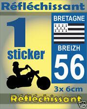 1 Sticker REFLECHISSANT département 56 rétro-réfléchissant immatriculation MOTO