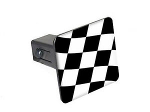 """Checkered Flag - Racing - 1.25"""" Tow Trailer Hitch Cover Plug Insert"""