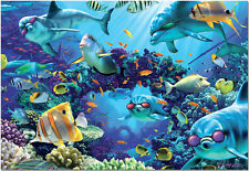 SUNLIT SEA       500Pc Puzzle     Nautical Ocean Dolphin Fish    EDUCA