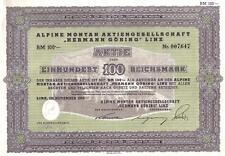 Germany Bond 1939 Herman Goring Alpine Montain 100 RM