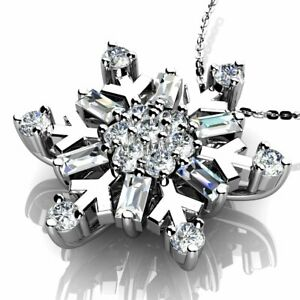 Special Offer 1/3 Ct Designer Snowflake Pendant With Chain, White Gold