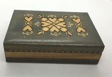Wood Box Made in Poland Vintage Carved Great for Playing Cards Light Weight #20C