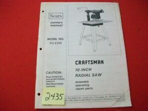 VINTAGE 1975 SEARS CRAFTSMAN 10-INCH RADIAL SAW MODEL# 113.23111 OWNERS MANUAL