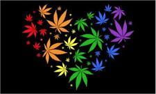 Rainbow Pot Leaf Heart marijuana 3 X 5 Flag #674 reefer banners hearts flags New
