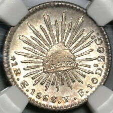 1868/7-Go NGC MS 64 1 Real Guajuanto Mint State Lustrous Silver Coin (20071103C)