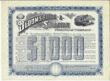 1898 PENNSYLVANIA, Bloomsburg and Sullivan Railroad Company, $1000  5% Bond