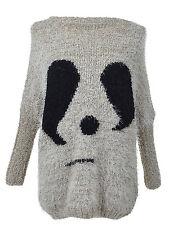 Women S/M Fit Grey Panda Face Image Fuzzy Furry Long Loose Dolman Sweater