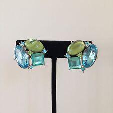 Vtg AVON Silver Tone Clip on Earrings w Light Blue + Green Crystal Rhinestones
