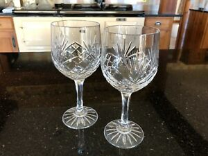 A Pair of Large Vintage Crystal Cut Glass Wine Glasses