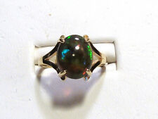 NEW 2.35ct Large RAINBOW FIRE RED BLACK OPAL Gold Ring 14k YG Size 7.0