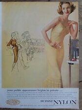 1957 women's Dupont nylon yellow pleated slip vintage lingerie fashion ad