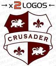 2x CRUSADER SHIELD Caravan decal, sticker, vintage, graphics, retro
