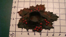 Vtg c.1921 Holly Lula Verhoren Lavell-Metal Christmas Candle Holder Lvl #2