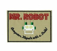Mr Robot Computer Repair with a Smile Cosplay Iron-on Patch (Tan)