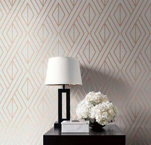 Geometric Feature Wall Wallpaper Stone Metallic Rose Gold UK30506 Modern Funky