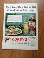 1950 Corby's Whiskey Ad Parrot Cocktail Pick