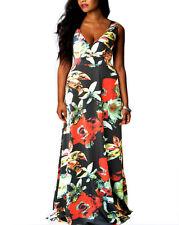 Lady Floral V Neck Boho Party Evening Sleeveless Long Maxi Dress Plus Size 8-24