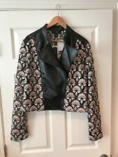 Y Yigal Floral Black Moto Jacket, Size XL NWT!