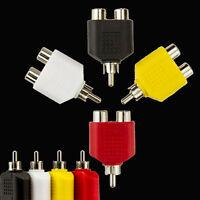 4PCS NEW RCA PHONO ADAPTER 1 x MALE PLUG TO TWIN 2 x FEMALE SOCKETS Y SPLITTER