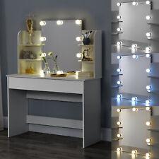 Schminktisch mit Spiegel Frisierkommode Frisiertisch LED Beleuchtung Weiß