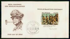 Philippines 1980 Douglas Macarthur Souvenir Sheet Manila Military First Day Cove