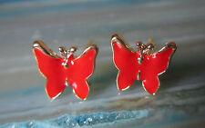 PENDIENTES AROS Mariposa Rojo Esmaltado bañado en Oro BUTTERFLY papillon