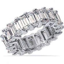 4.90 carat EMERALD cut DIAMOND ETERNITY Ring 14k Gold Band 24 x 0.20 ct F VVS