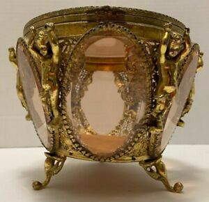 Gilt CUPIDS JEWEL CASKET Ormolu Pink Beveled GLASS 6 Side French Vitrine Vintage