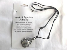 Egyptian Amulet Scarab Fine  Pewter Pendant AdjustableCord  Necklace US seller