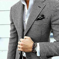 Men Suits Slim Fit Wedding Houndstooth Business Blazer Notch Lapel Prom Tuxedos