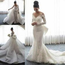 Lace Long Sleeve Mermaid Wedding Dress Detachable OverSkirt Bridal Gown Bride