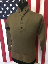 Vtg 70s Army Military Henley Wool Sweater men SMALL Green Hunting Fisherman 1974