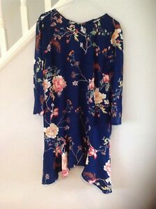River Island Blue floral curved frill hem swing dress Bnwt Size 12 38
