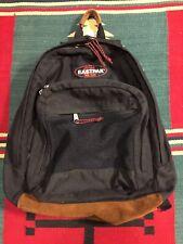 Vintage Eastpak Black 3 Compartment Backpack Leather Bottom Made USA!!!