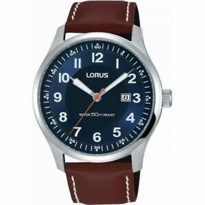 Lorus Blue Dial Brown Leather Strap Gents Dress Watch RH943HX9