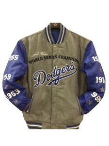 MLB Los Angeles Dodgers World Series Champion Jacket  2 Tone Charcoal blue New