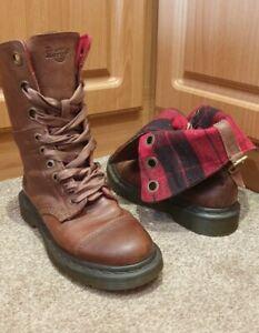 Dr Martens TRIUMPH AIMILIE Brown Tartan Fold Down Leather Boots Size UK 4