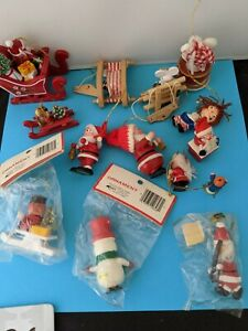 Lot of Vintage  Wooden Christmas Ornaments Santa's, Snowman, Mice
