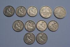 Marca alemana 1950 de la moneda de 50 pfennig monedas y 1 DM
