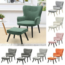 Fluffy Velvet Fabric Armchair with Stool Lounge Seat Wing Back Chair Sofa Nordic