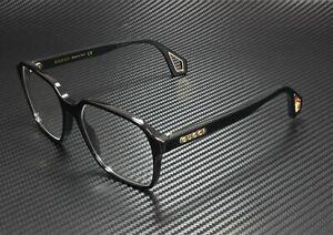 GUCCI GG0469O 001 Rectangular Black Shiny Black Demo Lens 56 mm Men's Eyeglasses