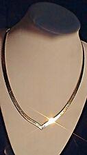 "HERRINGBONE Reversible CHEVRON COLLAR NECKLACE SOLID 14K Yellow Gold 18"" Chain"