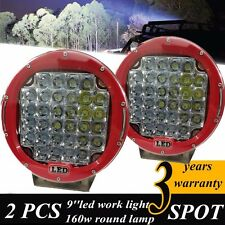 """2x 9""""160w Cree LED Driving Lights Round Red Spotlight Offroad 4WD 185W/160w/259"""