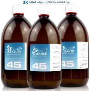 SilverCleanse Colloidal Silver 45ppm Triple Pack (3x 300ml Full Glass Bottles)