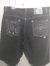 Scarface Embroidered Shorts Size 38 Tony Montana Black Denim Rare Authentic