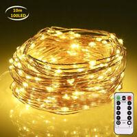 100 LED Drahtlichterkette Kupferdraht Lichterkette mit Fernbedienung 8 Modi