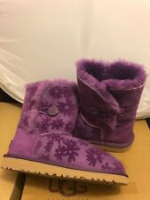 Ugg Australia Toddlers Girls Bailey Button Flowers Purple Boots Size 8 New.