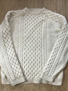 """Vintage Hand Knitted Wool Aran Cream Chunky Cable Knit Crew Neck Jumper 42""""-44"""""""