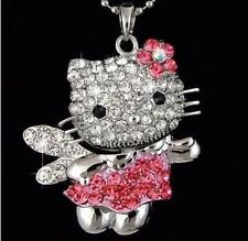 Hello Kitty Necklace Pink Bow Dress Swarovski Crystal Fashion Jewelry XL